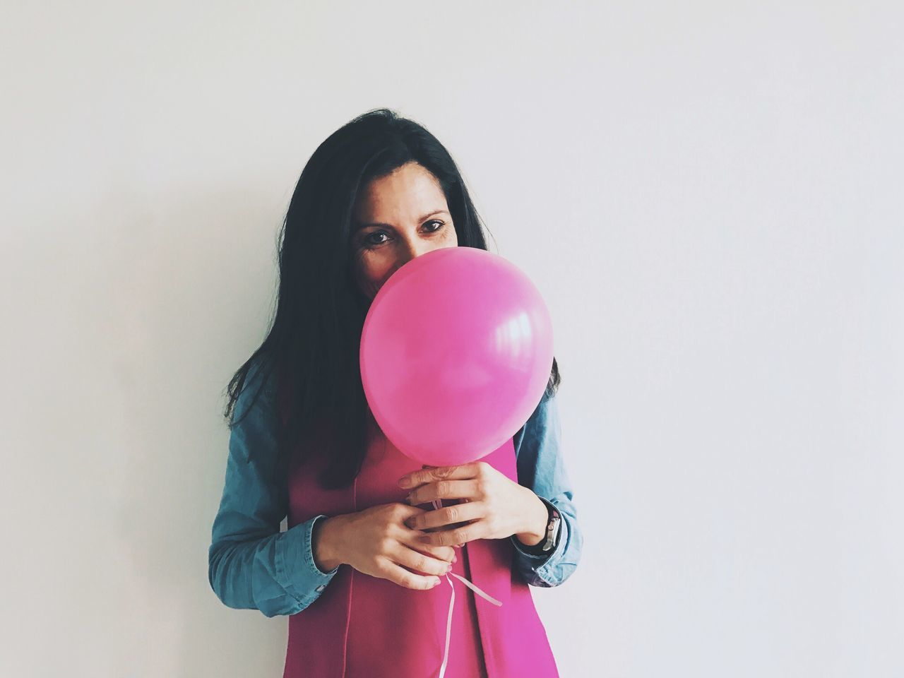 Balloon One Person Holding Lifestyles Front View Standing Young Adult White Background Young Women Helium Balloon Day