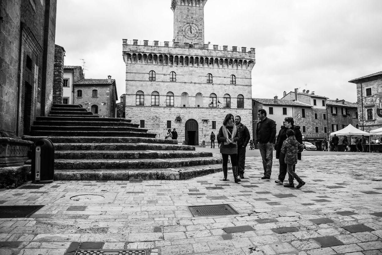 Blackandwhite Photography Castle Italy Life Montepulciano Peoplephotography Piazza Grande Steps