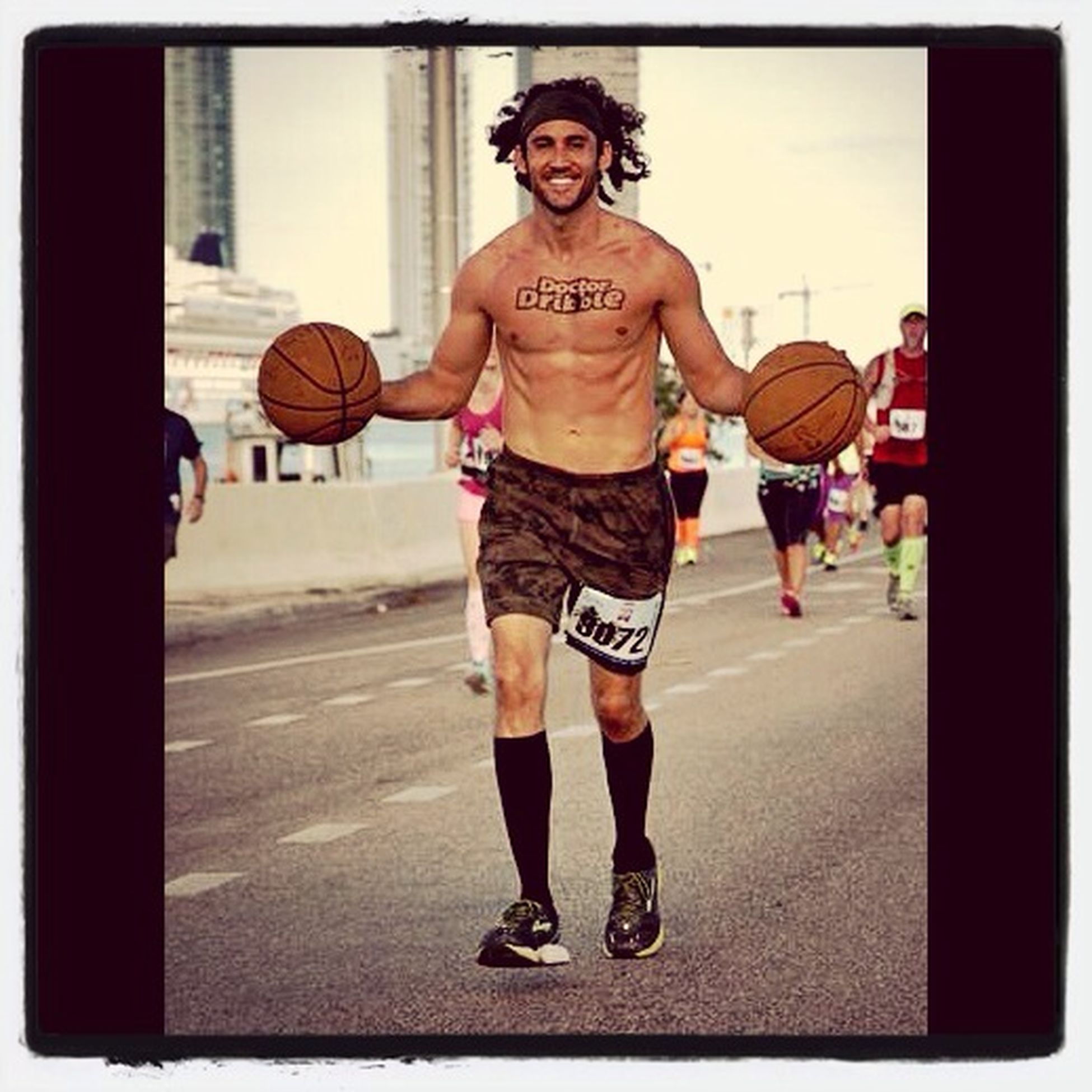 Michelob Ultra Miami Beach - Doctor Dribble, dribbles both basketballs for the full course. The Man, The Myth, The Legend.. Mcarthur Causeway Marathon Doctor Dribble MichelobUltra