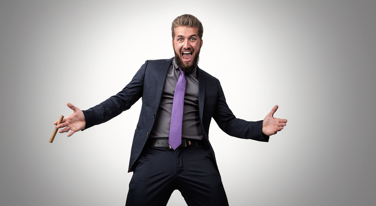 Arms Attractive Beard Business Businessman Cheerful Cigar Exited  Fun Gesturing Happiness Model Mouth Open People Portrait Scream Shout Smiling Spread Wings Studio Shot Successful Suit Well-dressed Wide