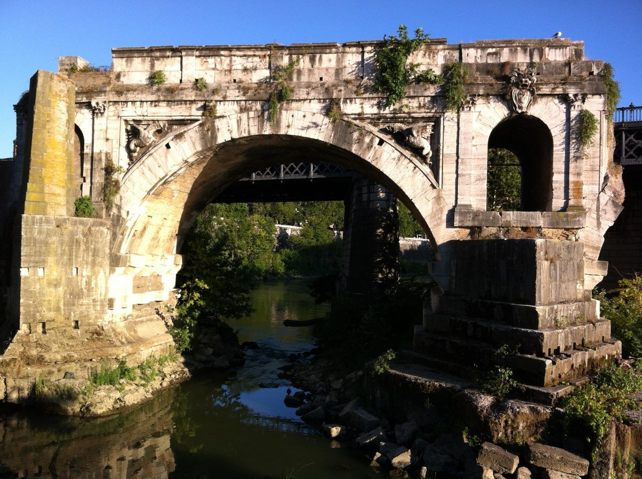 Ancient Ancient Civilization Arched Architecture Bridge Built Structure Culture Day Famous Place Historic History Italy Old Ruin Outdoors Ponte Rotto Rome Ruined Tevere River The Past Tourism Travel Destinations Tree