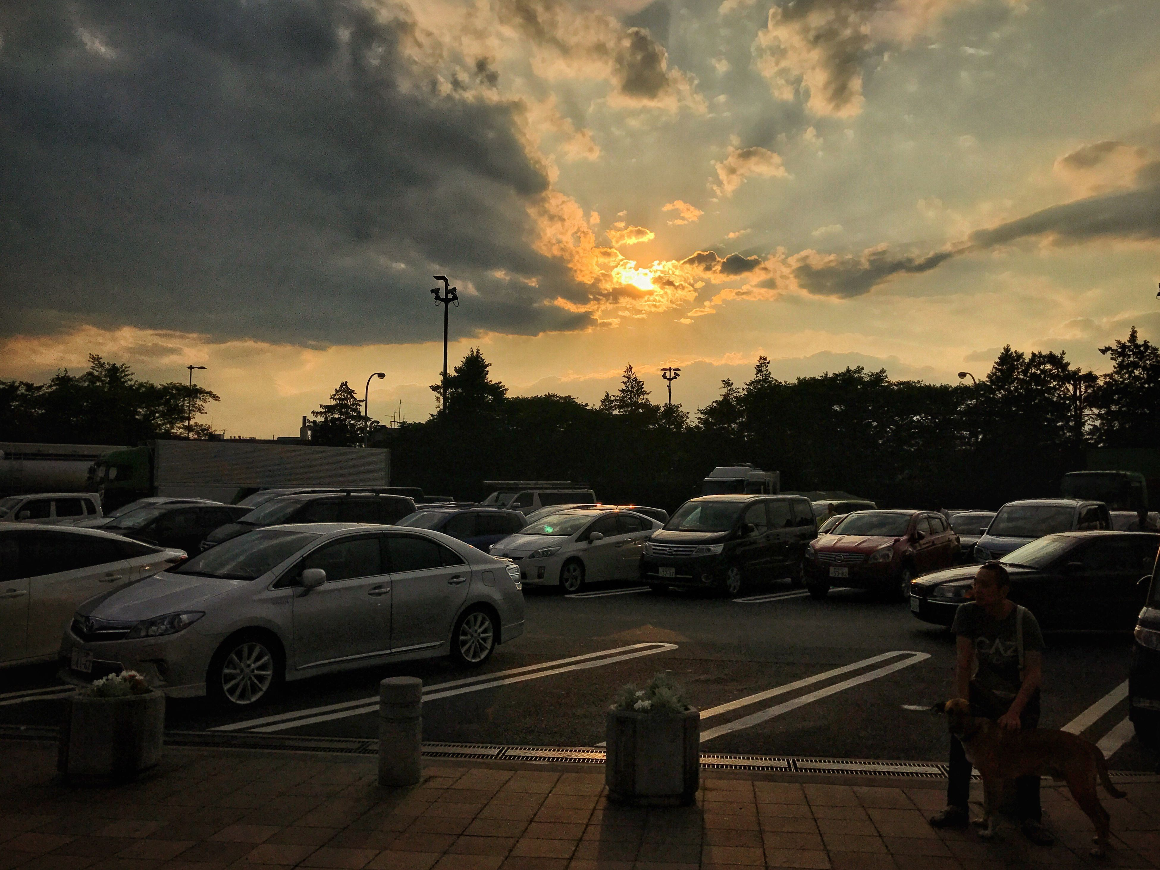 Sunset/夕焼け Sunset Car Sky Cloud - Sky Transportation Land Vehicle Tree Outdoors No People City Day IPhoneography