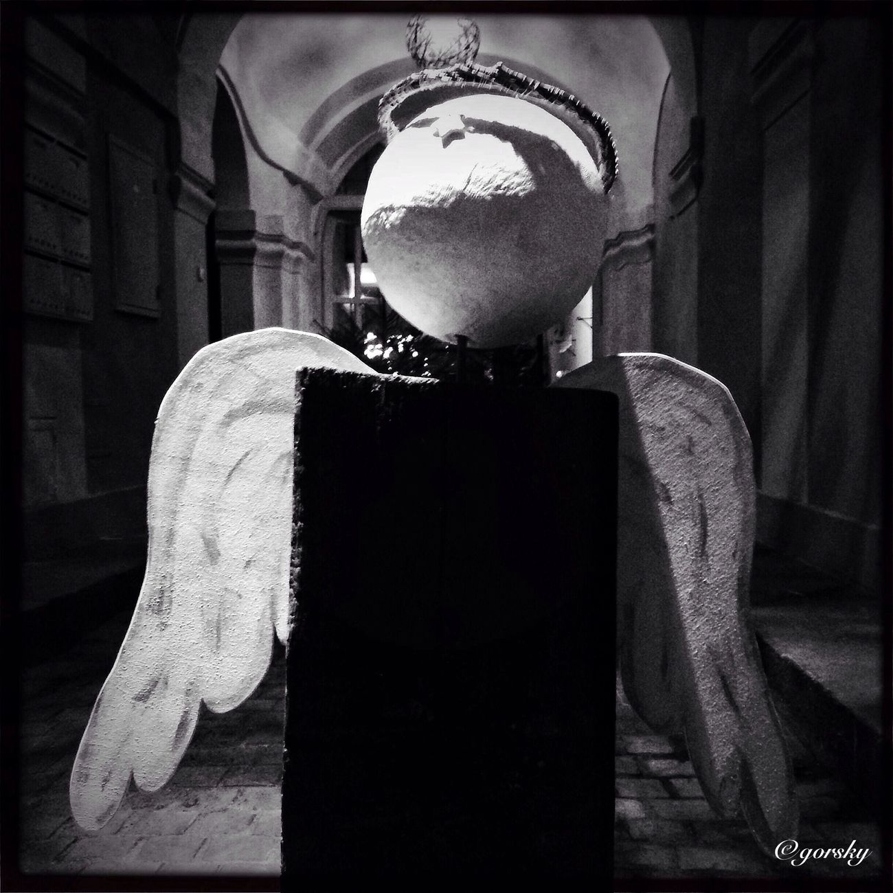 Angel HipstamaticStreetphotography Blackandwhite