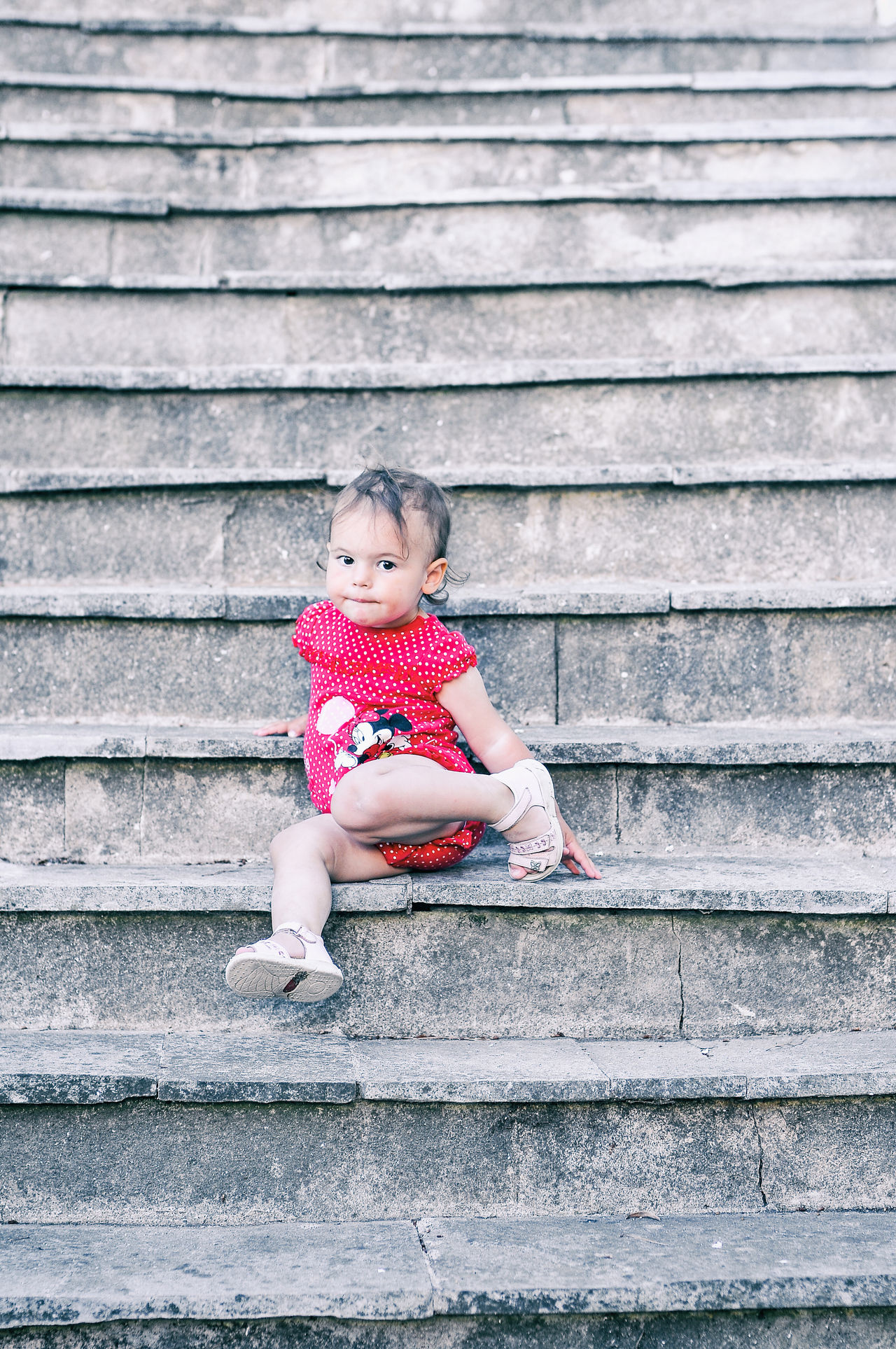 A cute baby girl sitting at stairs. Baby Girl Baby Portrait Childhood Chilling At Stairs Cute Girl Happiness Kid Happiness Kid Posing Only Red Red Dress Red Only Sitting At Stairs Kid Smile EyEmNewHere The Portraitist - 2017 EyeEm Awards