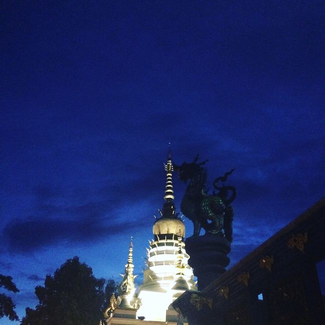Chiangrai Thai Temple Sky Dark Blue
