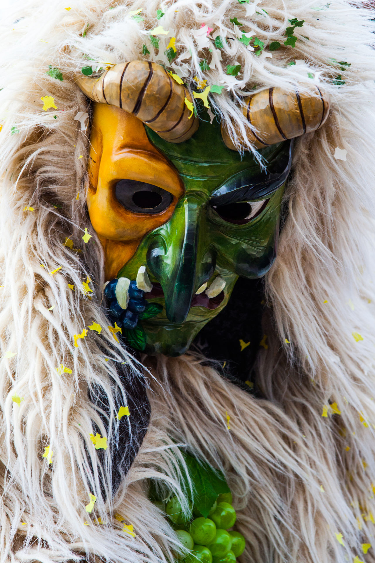 Carnival Crowds And Details Close-up Confetti Costume Creepy Dark Fasnacht Fear Furry Mask Monster Morbid Multi Colored Scary Tradition Weird Witch