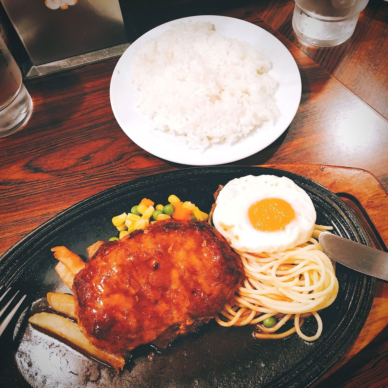 lunch〜🍴♡︎ Food Plate Food And Drink High Angle View Ready-to-eat Indoors  Fried Fried Egg Table No People Meat Egg Yolk Fast Food Day ハンバーグ Salisbury Steak Hamburg Steak Lunch ランチ
