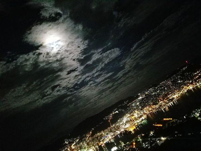 ☾🏢 Nagasaki Japan Nightview Moon Sky Nature Dark Night Galaxy