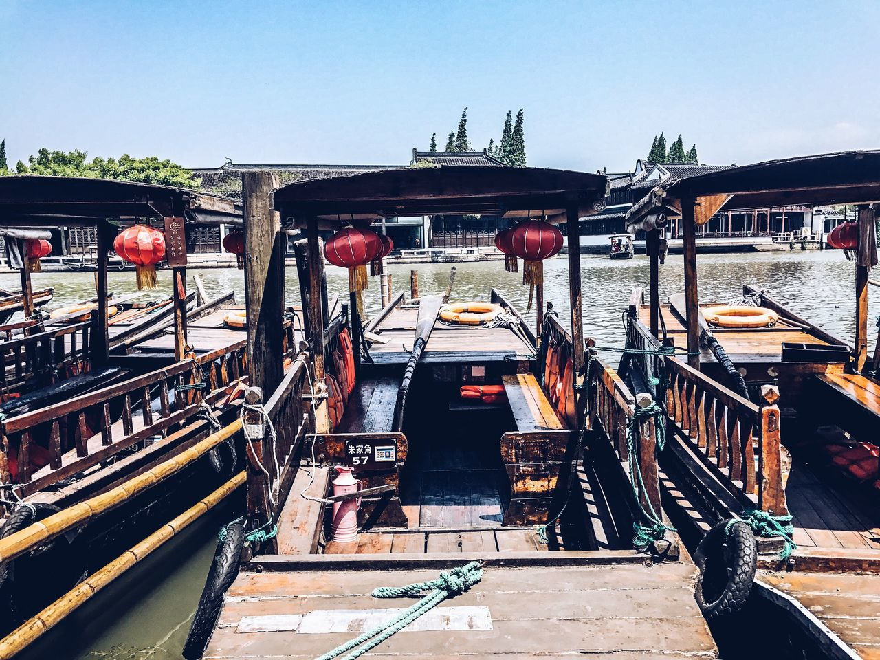 River city of Zhujiajiao Transportation Mode Of Transport No People Outdoors Sky Boats Water Waterfront China Shanghai Travel Travel Destinations Travel Photography VSCO Lightroom Day Clear Sky Chinese EyeEmNewHere First Eyeem Photo EyeEmNewHere