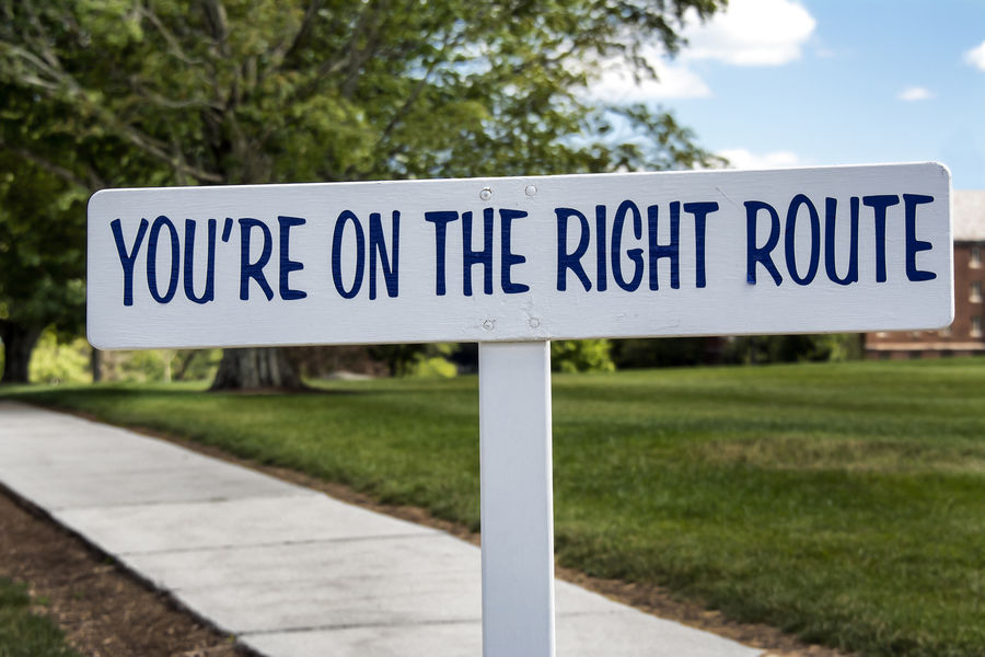 On the Right Route Motivational Sign Effort Productivity Self-Improvement Sign Strategize Travel Traveling Ambition Away Career Communication Compliance Destination Encouraging Evacuation Goal Settiing Keep It Up Motivational No People On The Road Persistence  Signpost Success Text Will Power