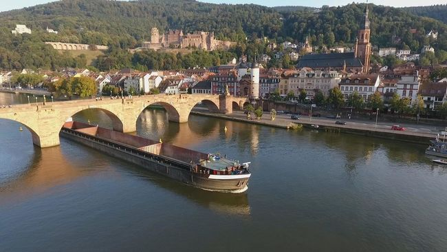Battle Of The Cities Heidelberg Architecture Built Structure Connection Luftaufnahme Schiff Transportation Water Nautical Vessel Bridge - Man Made Structure Building Exterior High Angle View River Arch House Boat Bridge Arch Bridge Waterfront Mode Of Transport Travel Destinations Day Scenics