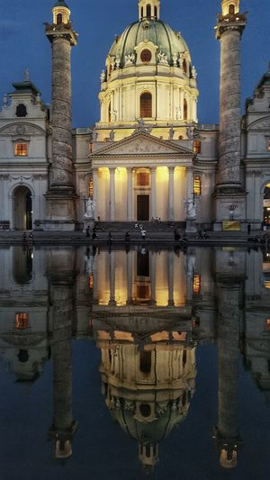 Dome Reflection Water Architecture Building Exterior Religion Built Structure Spirituality Sky Travel Destinations Outdoors Place Of Worship Day Symmetry No People Politics And Government Viena, Austria Vienna_city Vienna Is Different