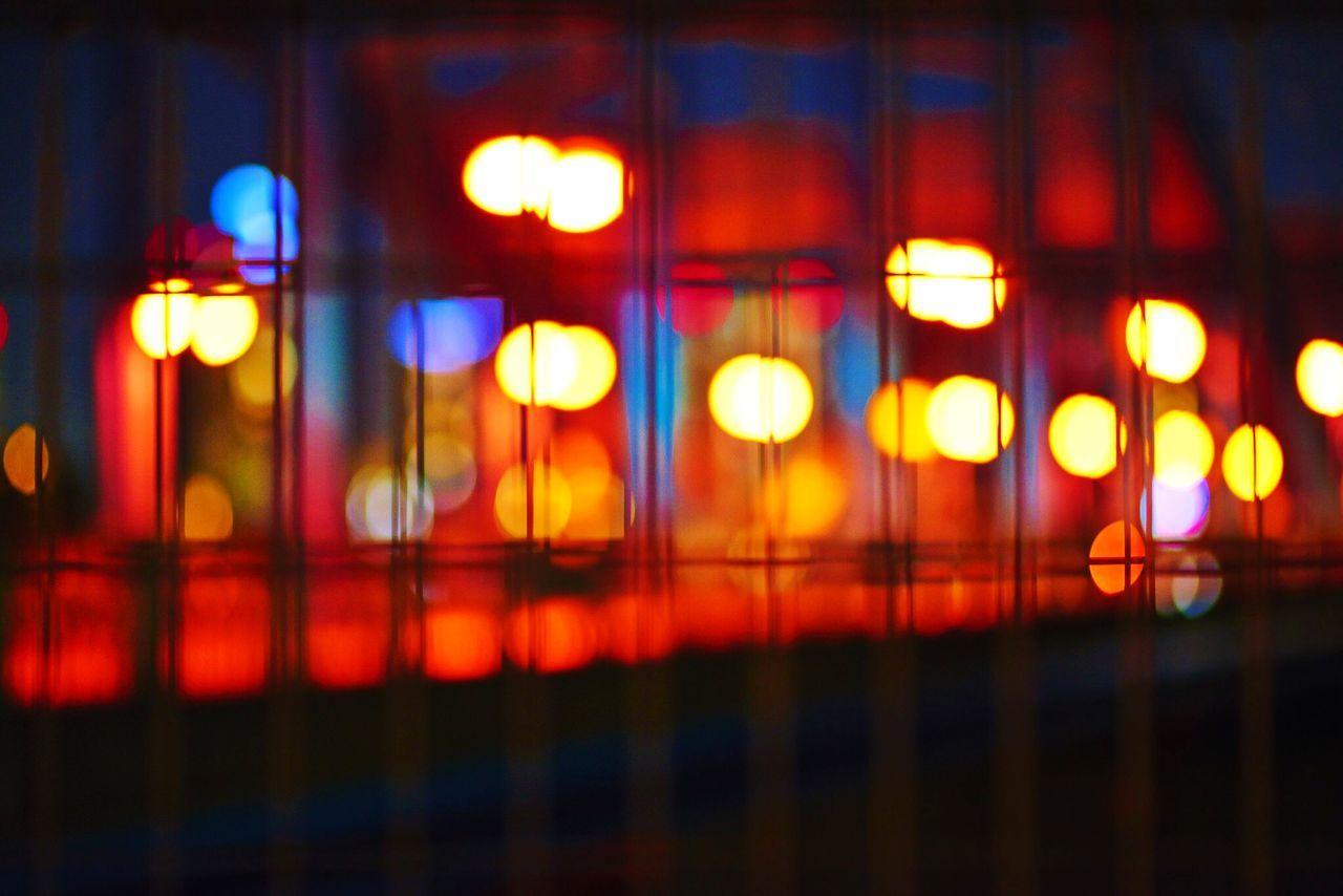 illuminated, night, no people, indoors, close-up, defocused