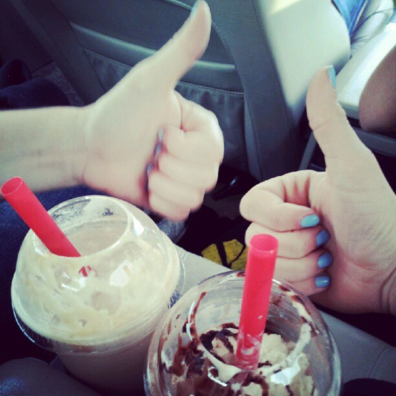 Frappe love! Gotta stay awake on our long drive! Centralleebound Football2012