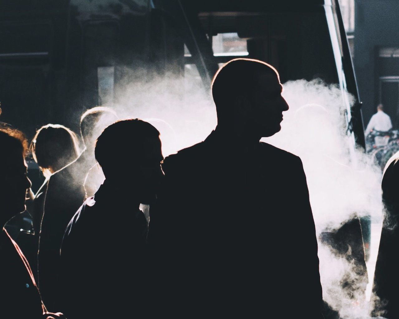 The Street Photographer - 2017 EyeEm Awards Streetphotography Men Silhouette Real People Adult Well-dressed People Crowd Smoke Business Togetherness Outdoors