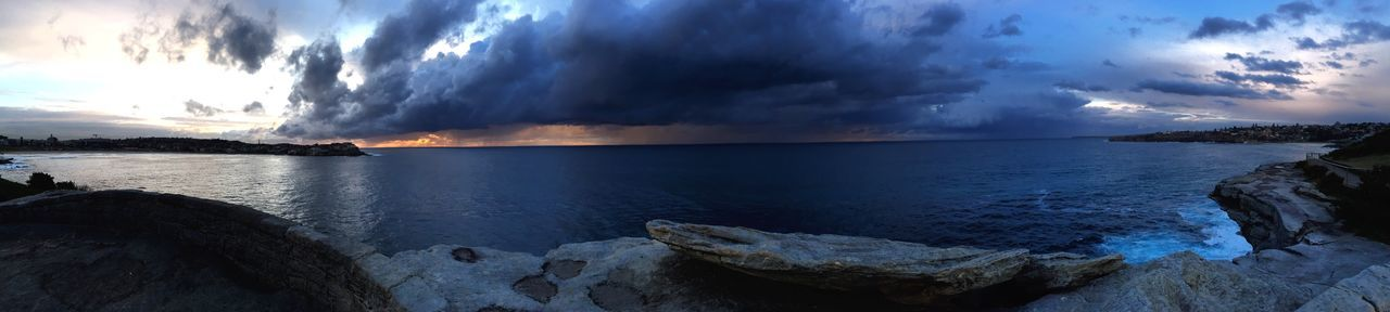 Panoramic Sydney Ocean View Dreaming Dream Travel Traveling Water Tranquil Scene Scenics Cloud - Sky Tranquility Sea Sky Beauty In Nature Dramatic Sky Sunset Nature_collection Cloud Distant Atmospheric Mood Backpacking WOW Australia Moody Sky
