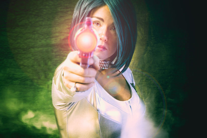 You'll Come In Peace, Or You'll Leave In Pieces Adventure Anime Attractive Blue Hair Comic Book Character Creative Exciting Fantasy Female Futuristic Gun HERO Heroic Interesting Laser Lens Flare Looking At Camera One Person Ray Gun Sci-fi Science Fiction ScyFi Space Traveler Story Telling Woman