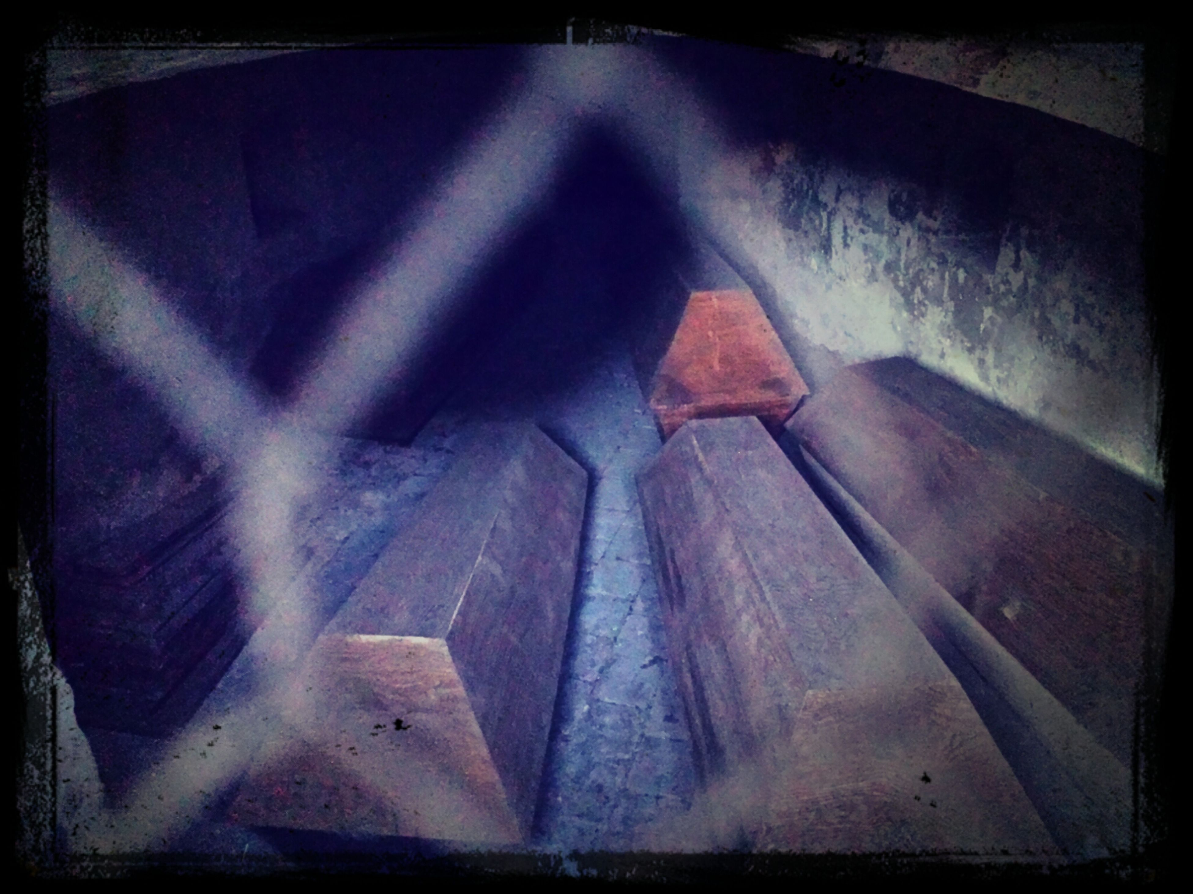 transfer print, indoors, auto post production filter, old, abandoned, wall - building feature, built structure, architecture, wood - material, close-up, damaged, no people, low angle view, pattern, steps, obsolete, high angle view, metal, deterioration, steps and staircases