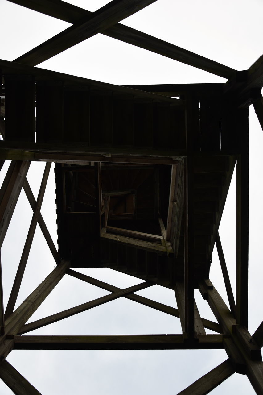 wood - material, built structure, no people, architecture, low angle view, day, shelter, indoors, close-up, sky