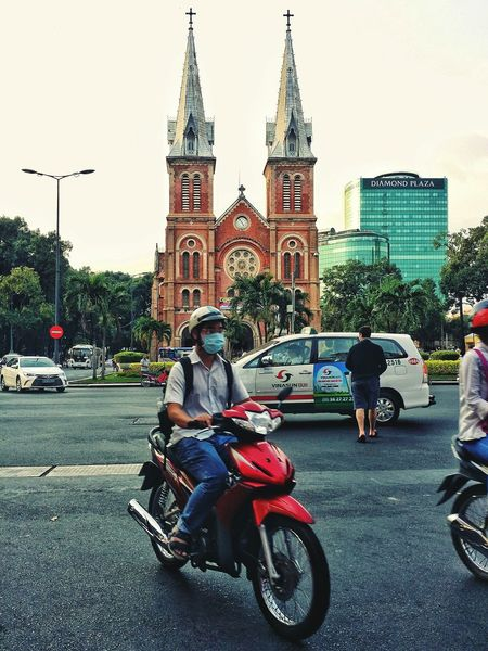 Architecture Building Exterior Travel Destinations Bicycle Mopeds Bikes City Church Vietnam Street Street Photography Urbanphotography Traffic