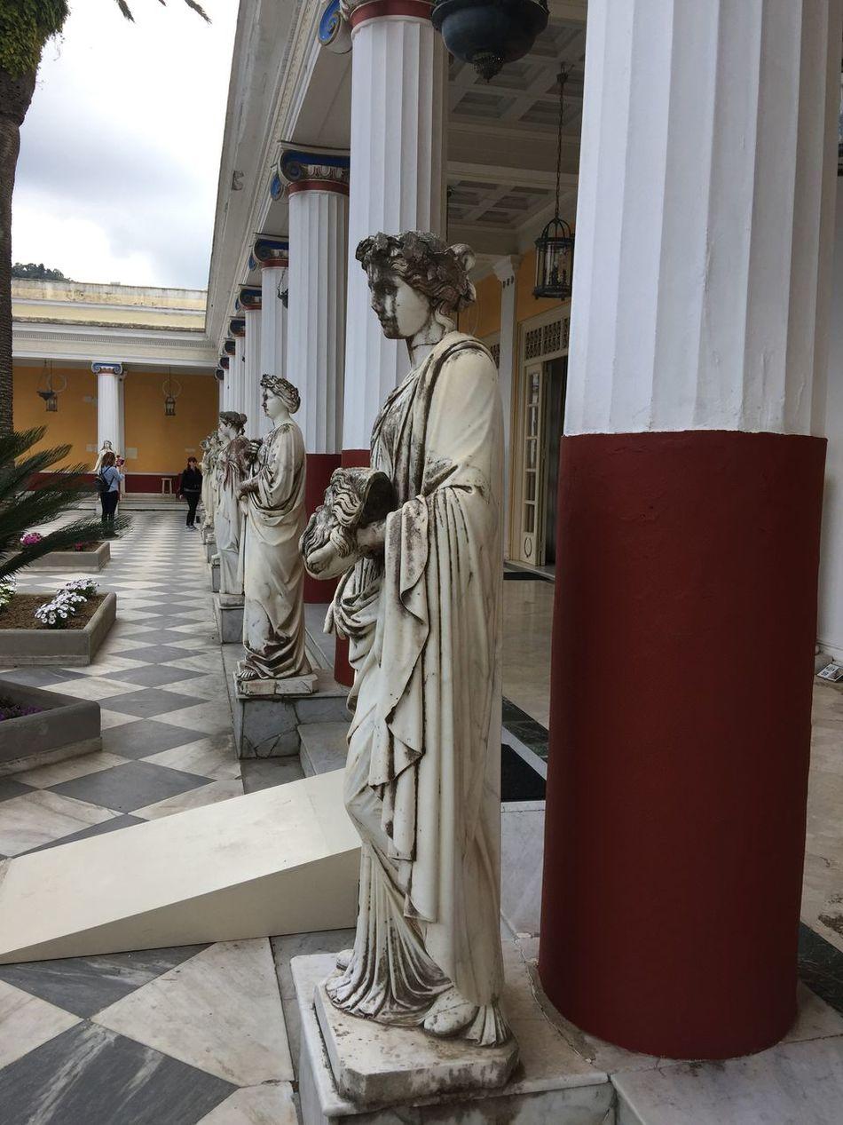 Achilleion palace on Corfu. (2) Greece Photos CorfuIsland Sculpture Art And Craft Statue Architecture Built Structure Building Exterior Architectural Column (null)History Architecture Travel Destinations