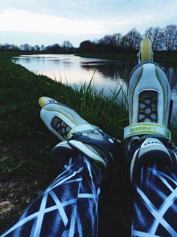 Nature Rollerskate Goodmood Elbe Reflection Legs Leggings