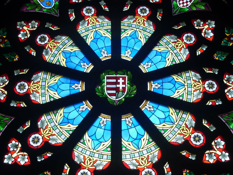 Stained glass window in Vajdahunyadvar castle in Budapest, Hungary, featuring the shield of Hungary. Blue Budapest Budapest, Hungary Glass Art Hungary Stained Glass Stained Glass Window Symbol Tourism Tourist Attraction  Vajdahunyad Castle Vajdahunyad Vár Window