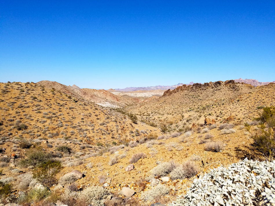 Clear Sky Blue Landscape No People Sky Outdoors Nature Day Plants Rocky Rocks Adventure Explore Travel Along The Road GravelDry Mountains USA Arizona Arizona Landscape Mountain Scenics Desert Beauty In Nature