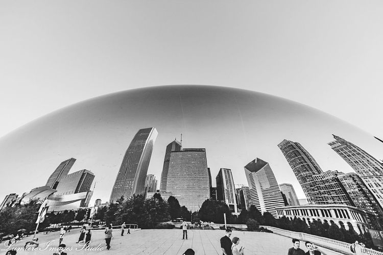 Architecture Building Exterior Built Structure Clear Sky Modern Outdoors Large Group Of People City Real People Skyscraper Day People Chicago Chicago Architecture The Bean Chicago The Bean In Chicago EyeEm Gallery Black And White Friday