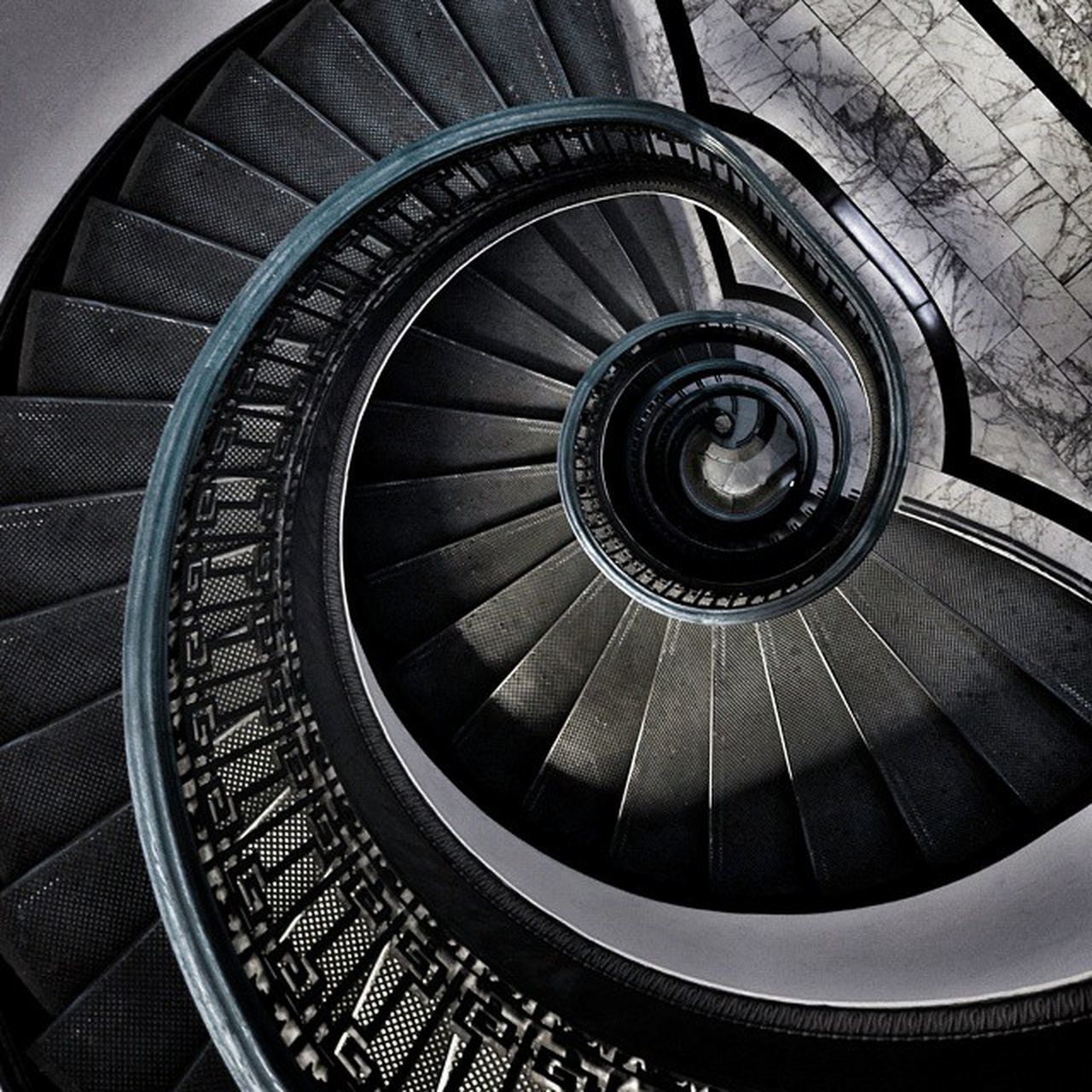 staircase, spiral, steps and staircases, railing, steps, spiral stairs, stairs, architecture, built structure, design, high angle view, hand rail, no people, spiral staircase, day