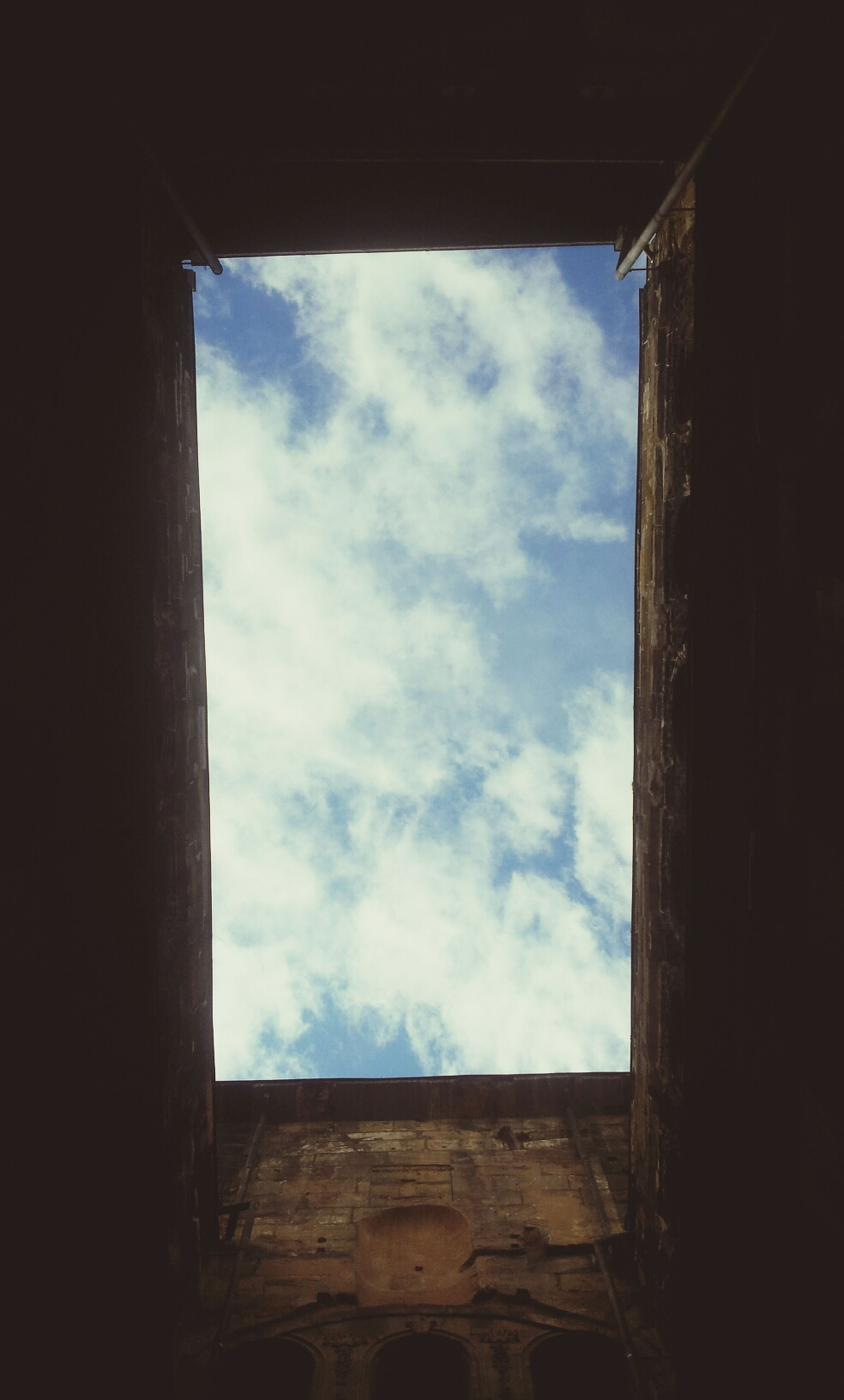 window, sky, cloud - sky, low angle view, day, architecture, no people, built structure, indoors, tree, nature
