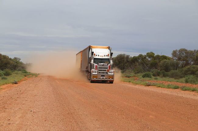 Day Dust Cloud Gravel Road Landscape Outback Outback Australia Outdoors Red Sand Sky Speeding Truck Ahead West Australia