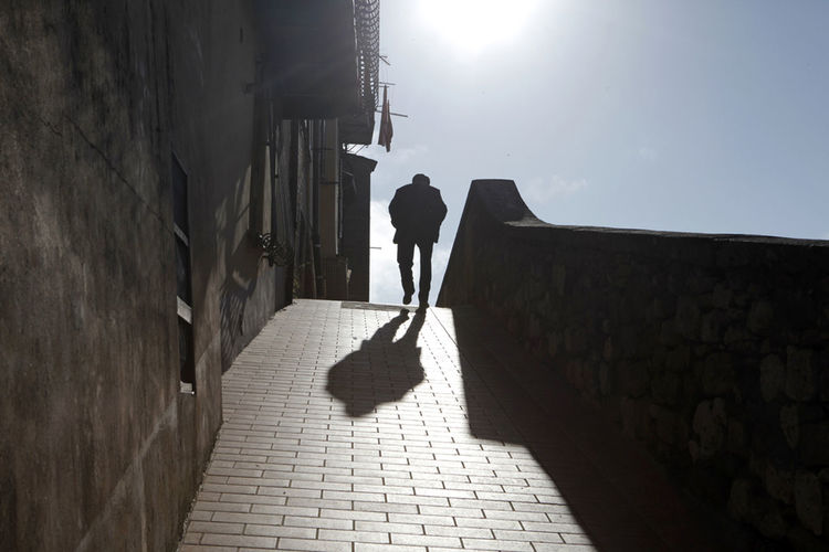 Shadows, walking alone in the shadows, silhouette, travel
