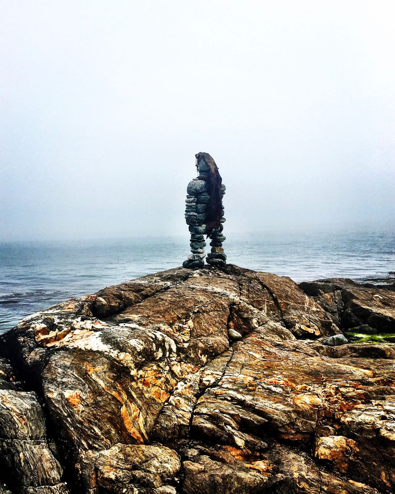~ Matinicus Island Stone Man ~ Sea Rock - Object Scenics Real People Water Nature Tranquility Beauty In Nature Tranquil Scene Day Outdoors Sky One Person Full Length Horizon Over Water Men Matinicus Maine Vacations Vacation Vacation Time Fog Foggy Foggy Morning Foggy Day