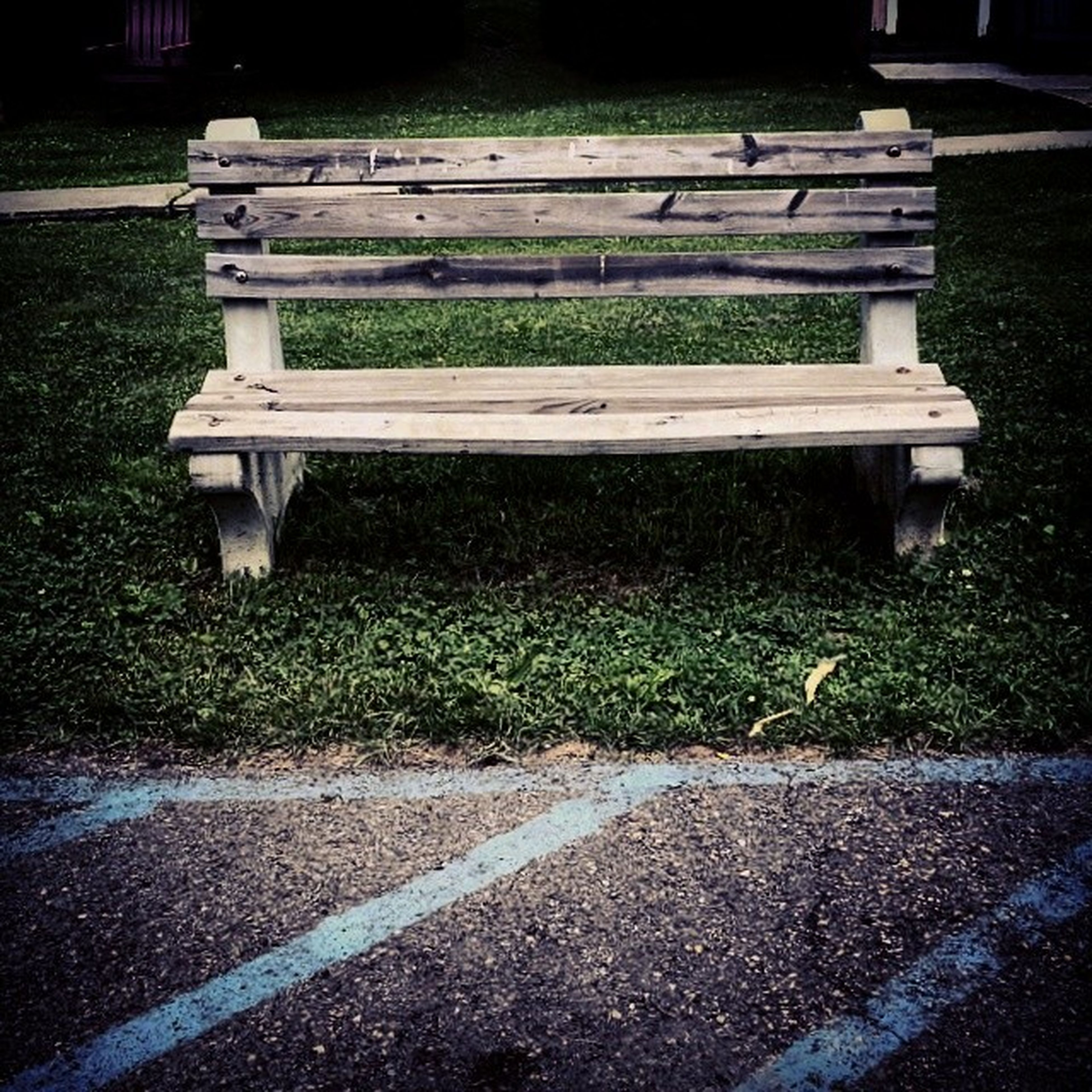 grass, bench, empty, park - man made space, field, park bench, wood - material, outdoors, sunlight, shadow, nature, absence, tranquility, day, park, grassy, lawn, no people, footpath, wooden