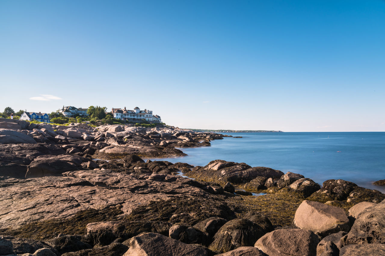 Sohier Park York, Maine Beauty In Nature Blue Clear Sky Day Horizon Over Water Nature No People Open Water Outdoors Rock - Object Scenics Sea Shore Sky Water
