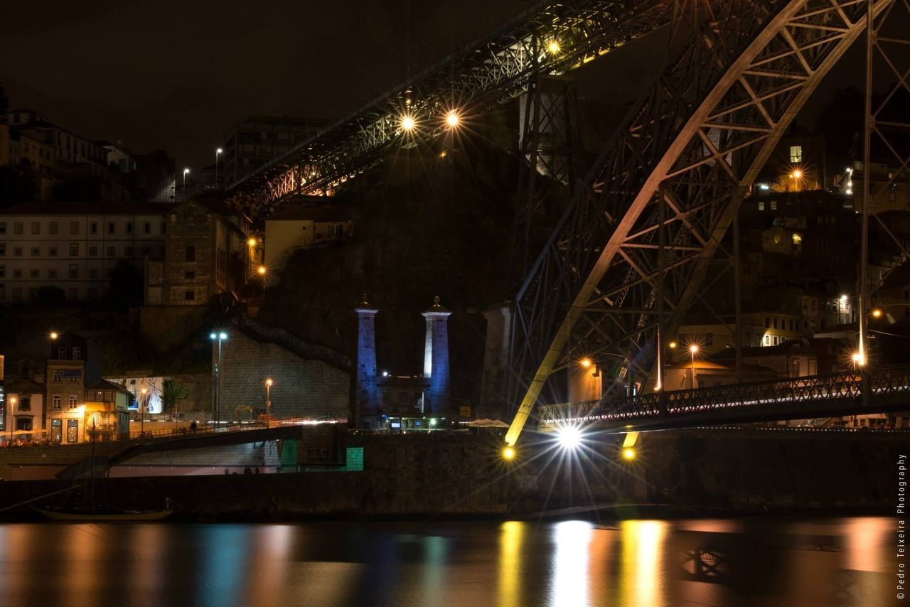 illuminated, night, built structure, architecture, bridge - man made structure, building exterior, street light, water, city, no people, outdoors, sky