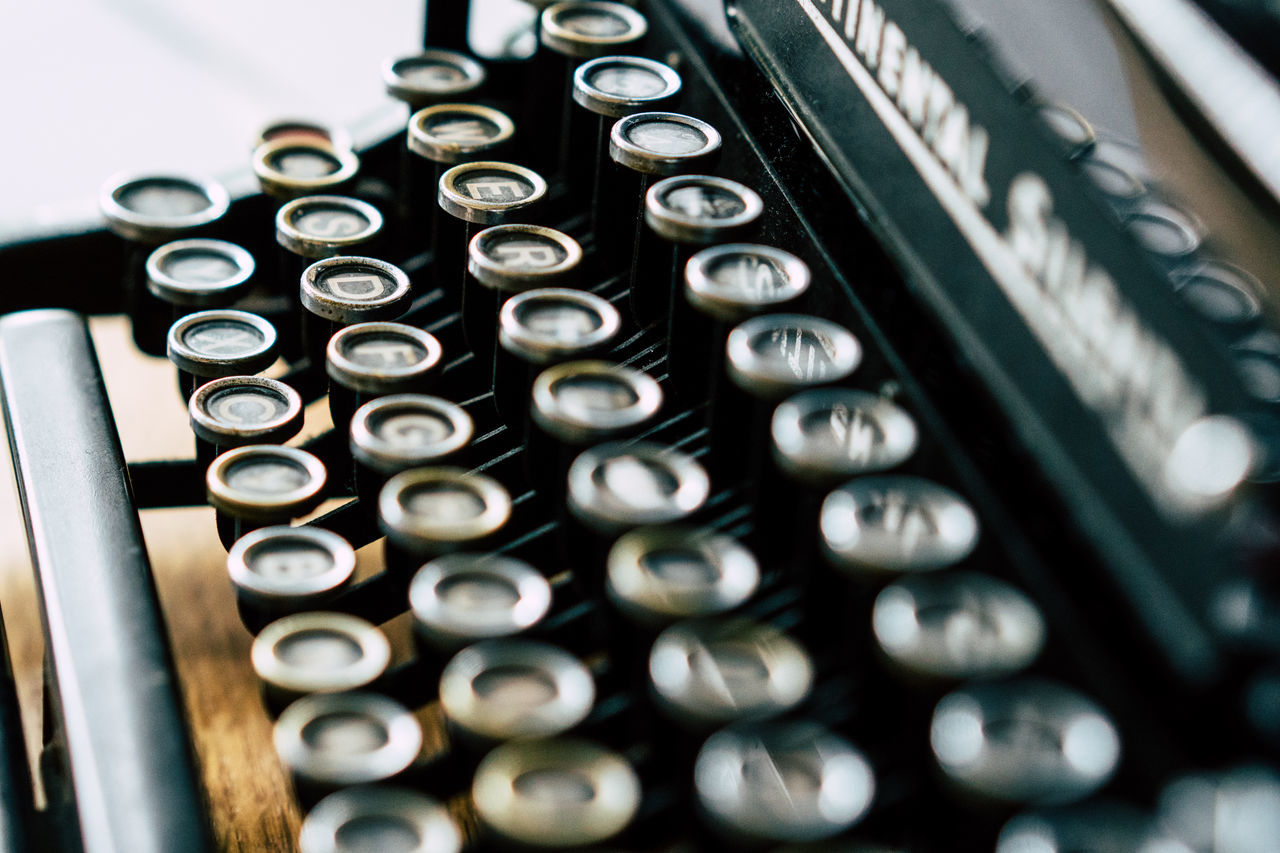 Abstract Alphabet Antique Close-up Day High Angle View Indoors  Keyboard No People Old-fashioned Technology Typewriter