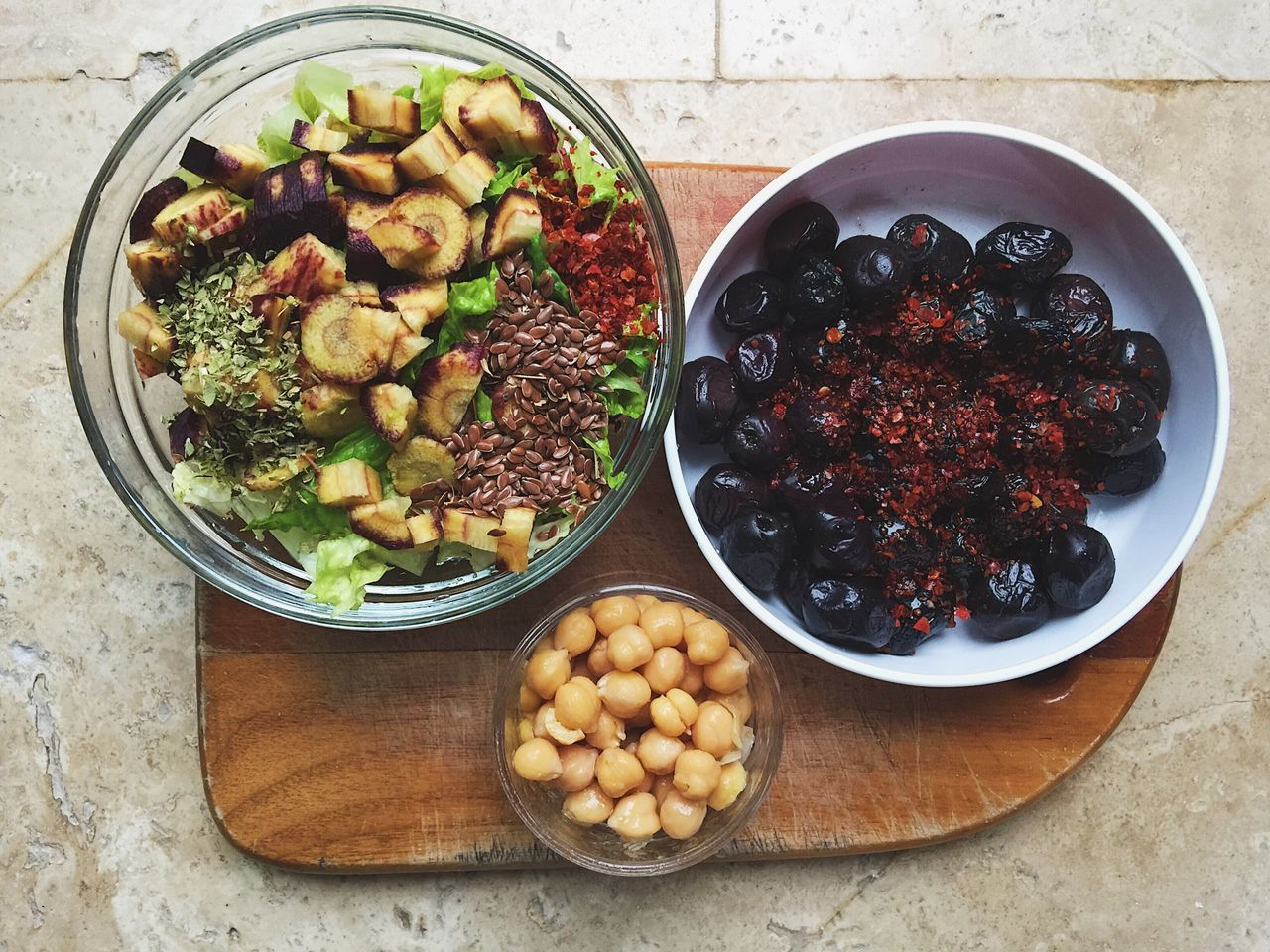 Salad with flax seeds, greens, and red carrot, plus cooked chickpeas and black olives with red pepper spices Carrot Chickpeas Cooking Delicious Flax Seeds Food Food And Drink Foodporn Healthy Healthy Eating Healthy Lifestyle Home Cooking Ingredient Marmaris Meal Olives Organic Recipe Salad Spices Turkey Vegetables Vegetarian Food Yummy