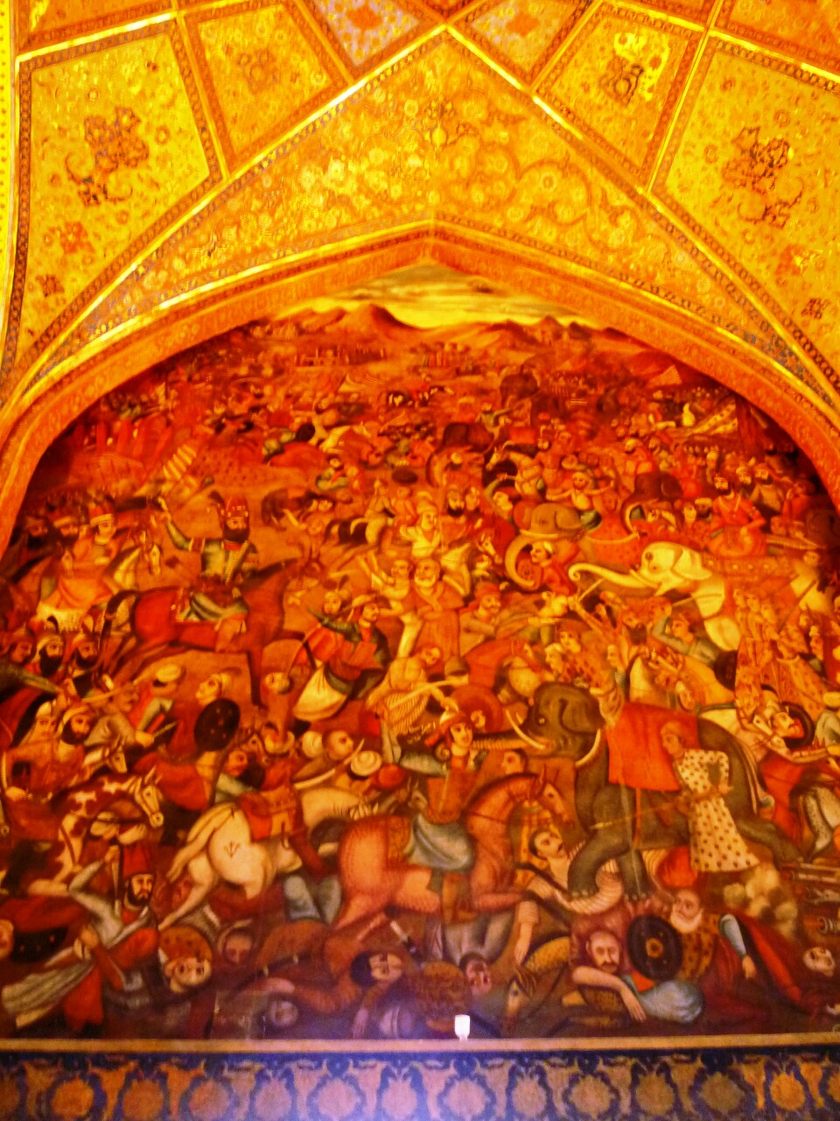 low angle view, human representation, religion, no people, indoors, built structure, gold colored, architecture, day, fresco