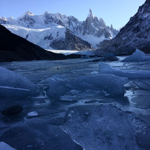 Snow Cold Temperature Winter Weather Mountain Scenics Tranquil Scene Frozen Beauty In Nature Tranquility Mountain Range Nature Snowcapped Mountain Landscape White Color Water Remote Stream Lago Torre Fitz Roy Mountain Laguna Torre Patagonia Argentina Argentina The Great Outdoors - 2015 EyeEm Awards