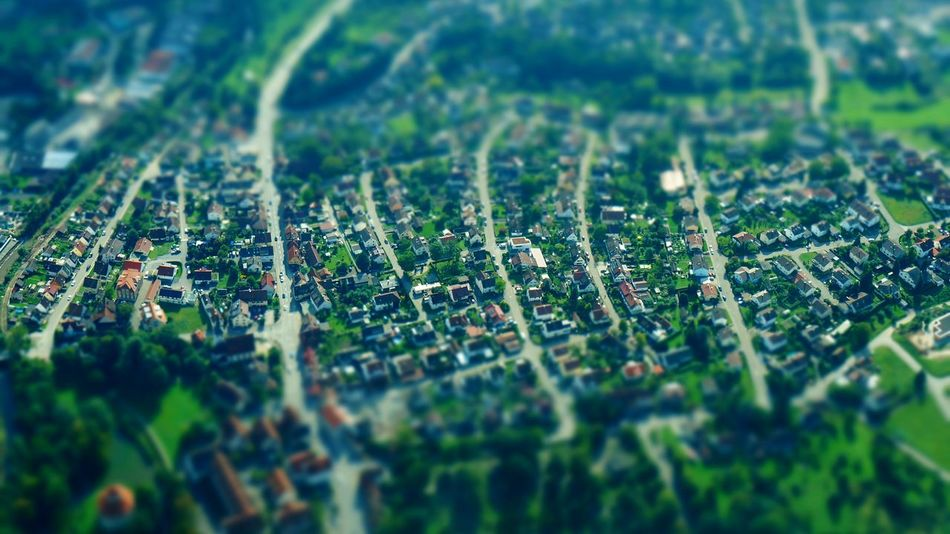 Selective Focus Town Houses Miniature From Above  From An Airplane Window