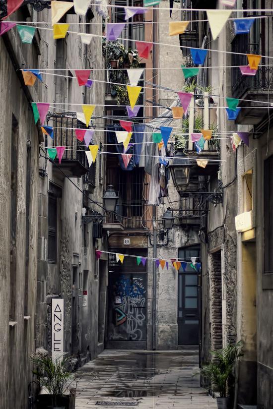 Barcelona Barri El Born El Born Fiesta Flags Hanging Multi Colored Street Decoration Streetphotography