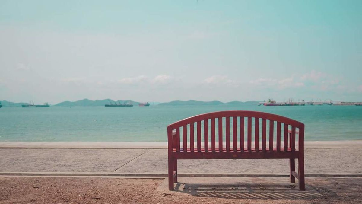 Lonely Sea And Sky Chair Traveling Sea Sky Pastel Colours Thailand Island SICHANGISLAND Frist Time On EyeEm