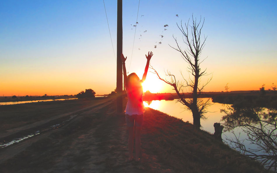 Child Childhood Children Only Clear Sky Danube Day Free Freedom Full Length Girl Males  Nature One Girl Only One Person Outdoors People Real People Romania Sky Sun Sunlight Sunset