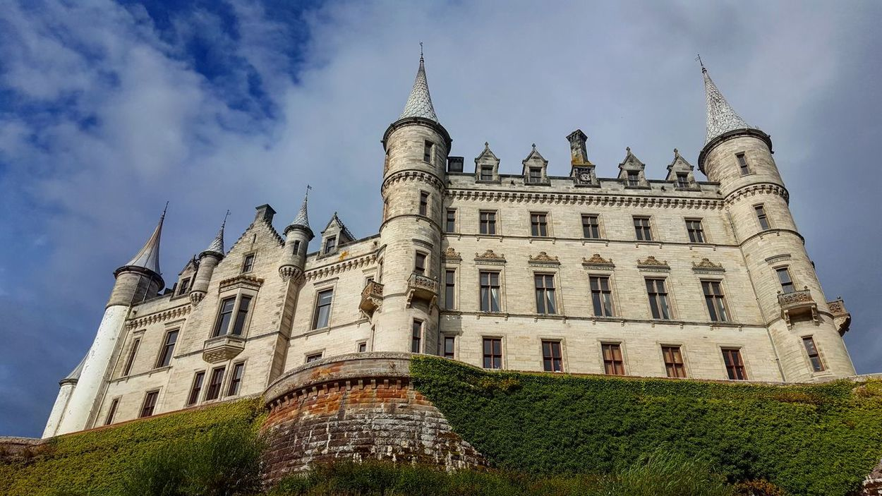 Architecture Built Structure Building Exterior Low Angle View Tower Castle Tall - High Travel Destinations History Outdoors Famous Place Day Cloud - Sky Medieval Scotland Dunrobin Castle Perspective Neverstopexploring  Majestic United Kingdom Copy Space Scenics Tourism
