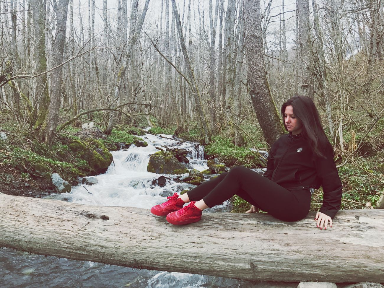 One Woman Only One Person Sitting Nature Forest Tree Real People Lifestyles Life Is Beautiful Krasnaya Polyana Weekend Activities Outdoors