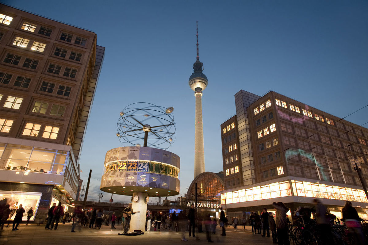 the main landmarks in alexanderplatz berlin, the fernsehturm tv tower and weltzeituhr world clock Alexanderplatz Architecture Berlin Buildings City City Commercial Fernsehturm Germany Illuminated International Landmark Landmarks Night Television Time Timepiece Tower Travel Tv Weltzeituhr World Clock World Time Clock
