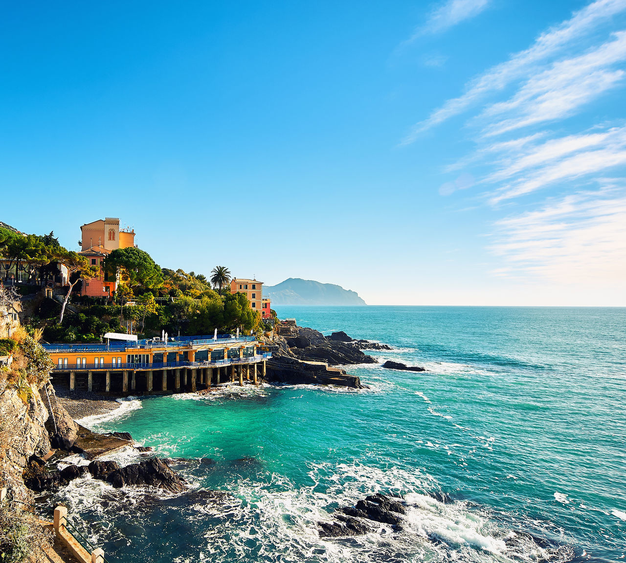 Italian Riviera Architecture Beauty In Nature Coastal Coastline Europe Hills Horizon Over Water Italian Riviera Italy Landscape Mediterranean Sea Nature Outdoors Scenics Seascape Sky Sunny Day Tourism Tourist Resort Travel Destinations Turquoise Water Vacations