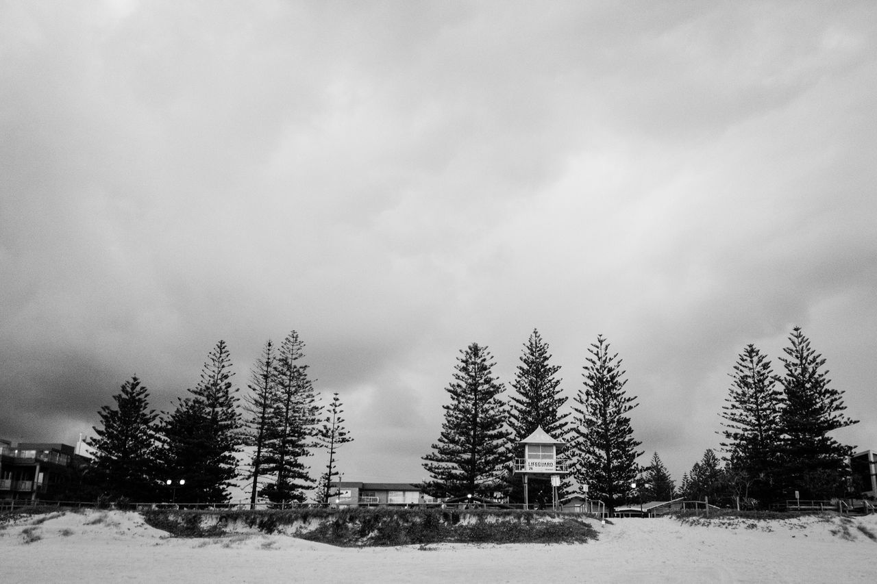Beach Photography Beach Beach Life Showcase March Blackandwhite Black And White Monochrome Building Exterior Trees Sand Cloudy Clouds And Sky